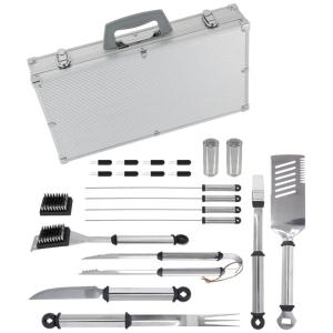 Mr. Bar-B-Q 02066x Silver Prestige 21-Piece Tool Set In Case