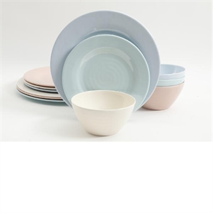 Gibson Home Brist Pastels 12 Piece Melamine Dinnerware Set, Assorted Colors main image