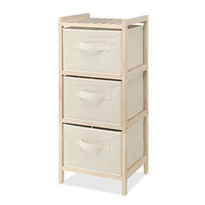Wood Chest 3 Drawer Cream