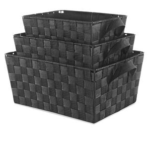 Woven Strap Basket 3 Set Black