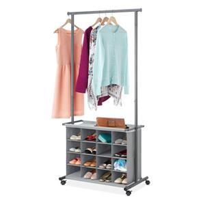 16-Cubby Garment Rack Gray