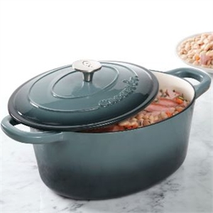 Crock-Pot 7-Quart Oval Cast Iron Dutch Oven in Grey image