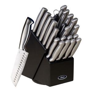 Oster 70562.22 Baldwyn 22-Piece Cutlery Block Set, Brushed Satin image