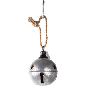 """Christmas Decor Distressed Metal Silver Bell 4.75"""" image"""