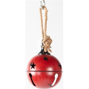 """Christmas Decor Distressed Metal Red Bell 4.75"""" image"""