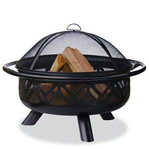Oil Rubbed Bronze Wood Burning Outdoor Fire Pit with Geometric Design main image