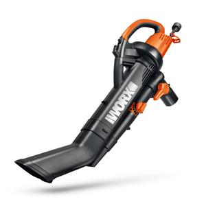 Worx Trivac 12 Amp Three-in-One Blower/Mulcher/Vacuum with 210 MPH / 350 CFM Output, Includes 10 Gallon Bag – WG505 image